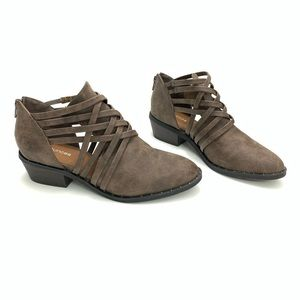 Maurices | Brown Open Crisscrossing Booties Size 7